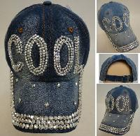 Denim Strapback Hat with Bling Bling [COOL]